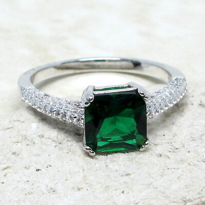 AWESOME 2 CT PRINCESS CUT EMERALD GREEN 925 STERLING SILVER RING SIZE 5-10