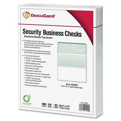 Docuguard Check Paper - For Laser Inkjet Print - 500 Ream - Marble Green