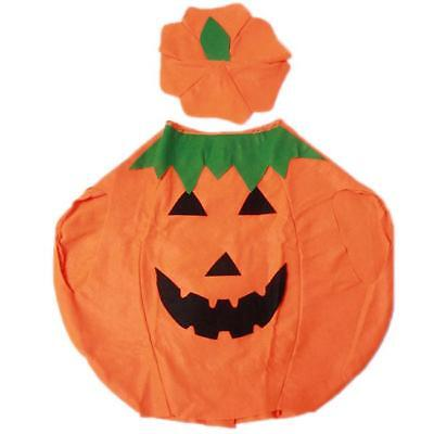 KIDS PUMPKIN COSTUME Halloween Unisex Fancy Dress Up Party Orange Vegetable JJ