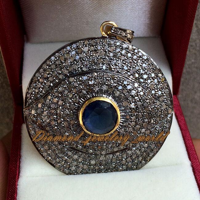 4.46ct Rose Cut Diamond Sapphire Silver Estate Stunning Evil Eye Pendant Jewelry
