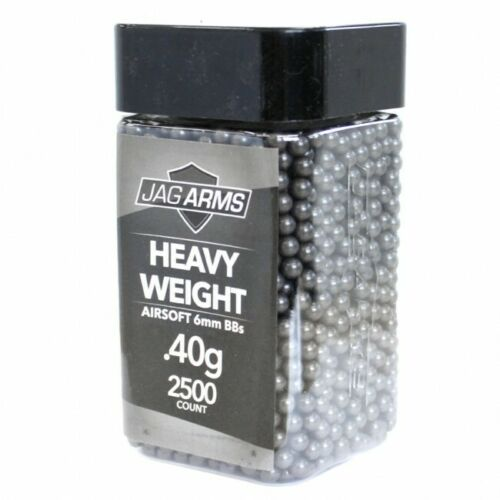 JAG Arms 2500rd Heavy Weight Seamless Double Polished .40g 6mm Airsoft BBs Black