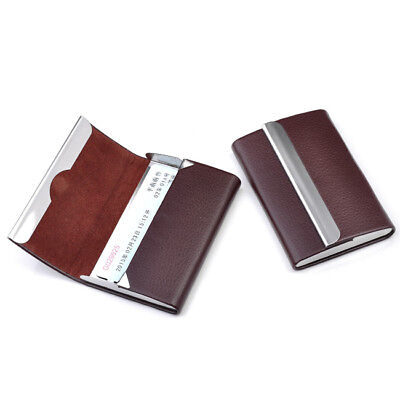 Brown New Pu Leather Business Credit Card Name Id Card Holder Case Wallet Box