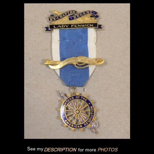 Vintage DAR Daughters of American Revolution Ribbon 3 Medals all 14K GOLD