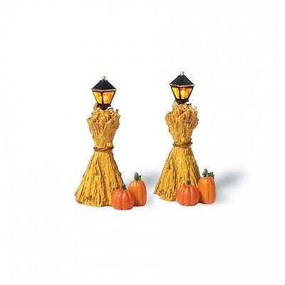Department 56 Halloween Village Lit CORN STALK LANTERNS Set/2 800025 Dept 56 NIB