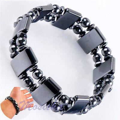 Black Magnetic Hematite Health Rectangle Round Beads Elastic Bracelet Bangle Hot ()