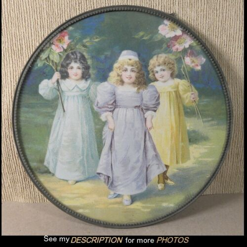 Antique German Chimney Flue Cover 3 Young Girls with Flowers Original Chains