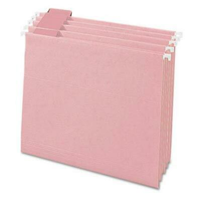 Smead 64066 Hanging File Folders 15 Tab 11 Point Stock Letter Pink 25box