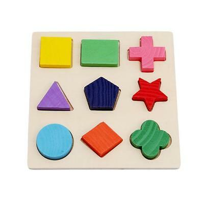 Wooden Geometry Block Puzzle Multicolor Children Educational Preschool Toys D