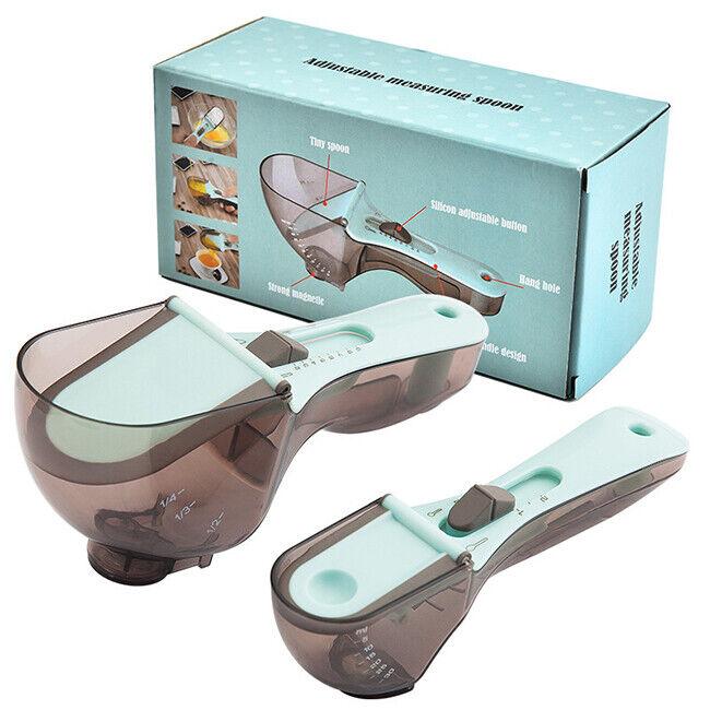 Kitchen Tools Plastic Engraving Measuring Spoon Adjustable Spoon Set of 2 Pieces