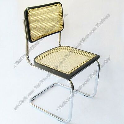 Marcel Breuer Cesca Cane Side Chair In Black W  Chrome Finish Made In Italy