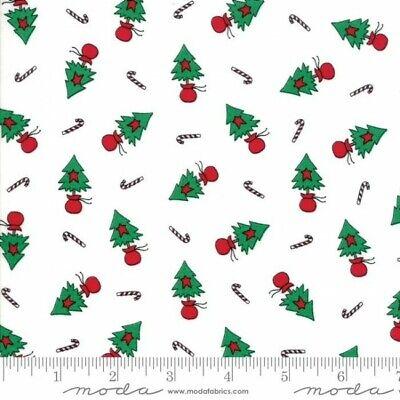 Merry Merry Snow Days Fabric 2942-14 Christmas Trees on White Premium Cotton ()