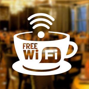 Free WIFI Cup Window Sign Vinyl Sticker Graphics Cafe Shop Salon Bar Restaurant