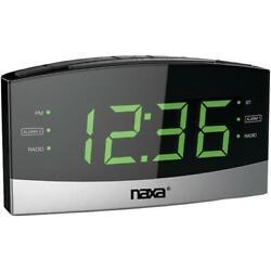 Naxa NRC-181 Bluetooth Easy-Read Dual-Alarm Clock with Daily Repeat Black