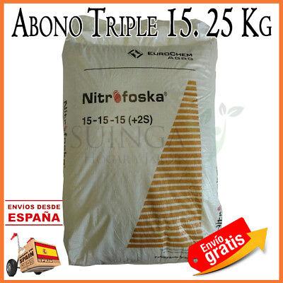 ABONO TRIPLE15 FERTILIZANTE 15-15-15 UNIVERSAL ADAPTADO TODOS LOS CULTIVOS. 25KG