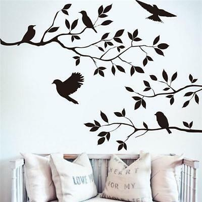 Tree Branch and Birds DIY Art Wall Stickers Living Room Decor Art Decal J