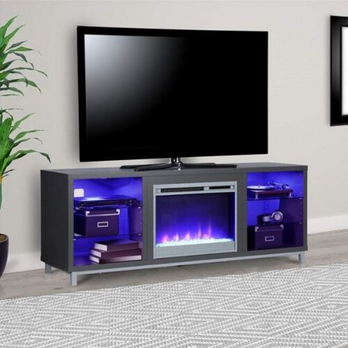 Electric Fireplace TV Stand 70 In Entertainmenc Center Lumina Heater LED Lights