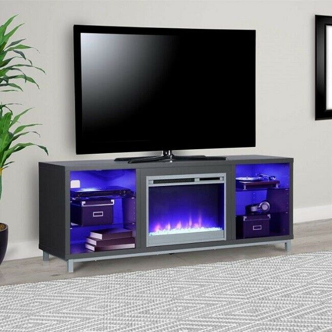 Ameriwood Home 1822296COM Lumina Fireplace Stand for for TVs