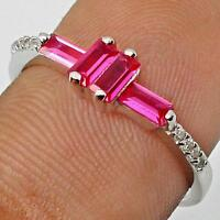 PINK RUBIES WITH WHITE TOPAZ ACCENTS 925 SILVER RING size 6