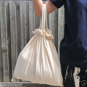 DOUBLE | Plain Drawstring Calico Bags with Handle