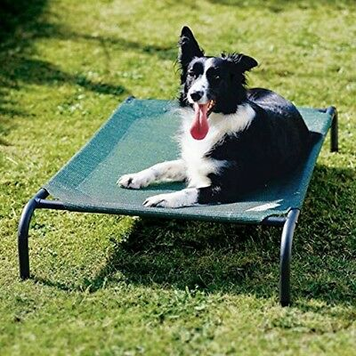 Medium Fabric Dog Bed Lounger Elevated Raised Indoor Outdoor Pet Cot Steel Frame