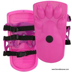 Sno-Stompers Girls Pink Bear Claw Print Snow Shoes Tracks Kids