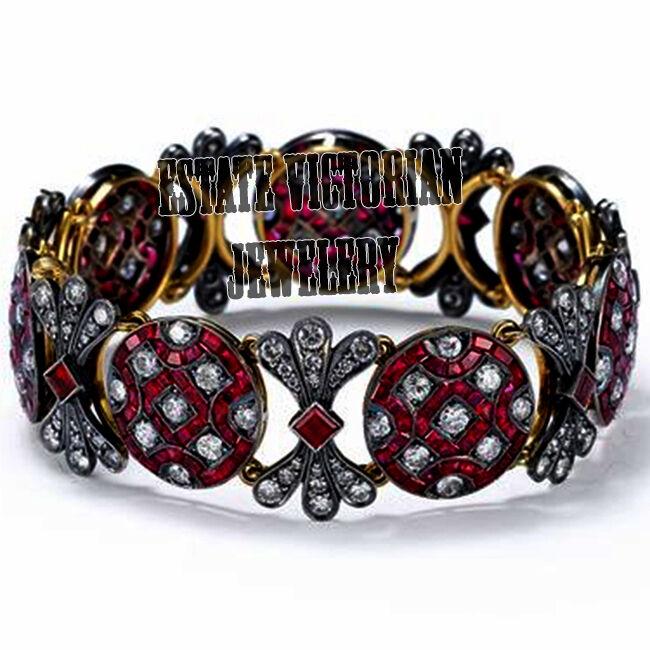 Victorian 8.90cts Rose Cut Diamond Ruby Studded Silver Bangle Bracelets Jewelry