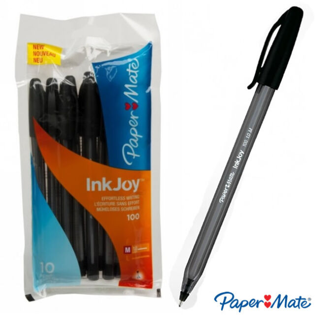 Papermate Paper Mate INKJOY 100 Capped Ballpoint Pen, Black, Cheap School Office