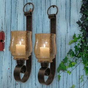 St 2 Tuscan Farmhouse Antique Iron Wall Sconce Candle ... on Iron Wall Sconces For Candles id=62402