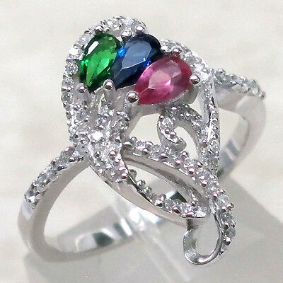 Three Color Stone (ADORABLE THREE MULTI COLOR STONE 925 STERLING SILVER RING SIZE)
