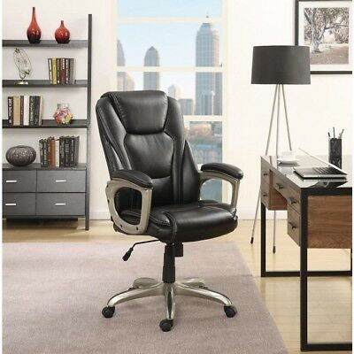 Black Office Chair Big Tall Memory Foam Commercial 350 Lbs Bonded Leather Desk