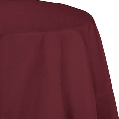 Burgundy 2/Ply Paper-Poly Round Tablecloth - Paper Tablecloths Round