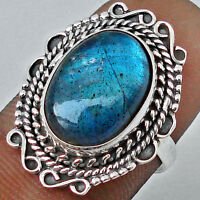 6.78cts BLUE LABRADORITE 925 STERLING SILVER RING  SIZE 8