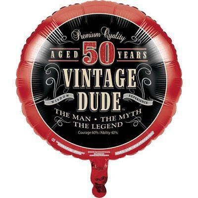Vintage Dude 50th Birthday Foil Balloon Fifty The Man Myth Legend Decoration - Fifty Birthday Decorations