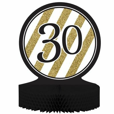 Black and Gold 30th Birthday Honeycomb Centerpiece 30 Birthday Party Decoration  (Black And Gold Birthday)