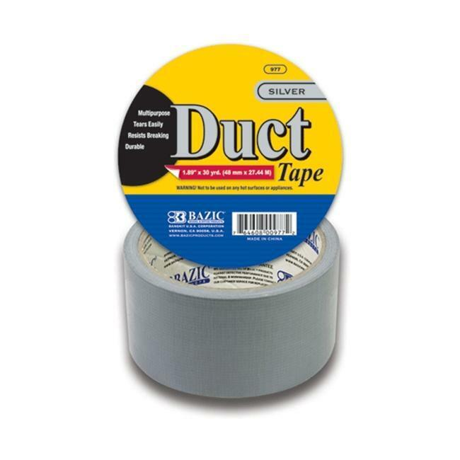Bazic 977 1.88  X 30 Yards Silver Duct Tape Pack of 24
