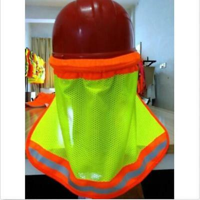 Safety Hard Hat Neck Shield Helmets Sun Shade Reflective Stripe Yellow New J