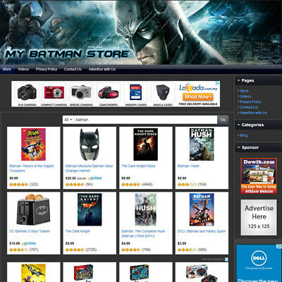 Batman Store - Online Affiliate Website Business For Sale Free Domain Hosting