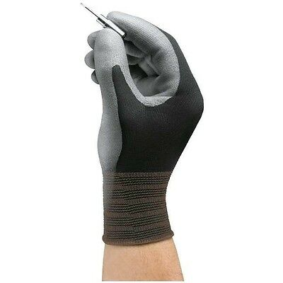 Ansell 11-600 Hyflex Polyurethane Palm Coated Black Gloves- Size 8 Pack Of 12