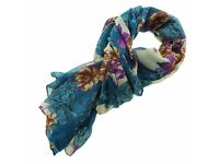 LARGE TEAL/PURPLE/BEIGE VICTORIAN FLORAL & BUTTERFLY PRINT VOILE SCARF ( BRAND NEW IN PACKET )