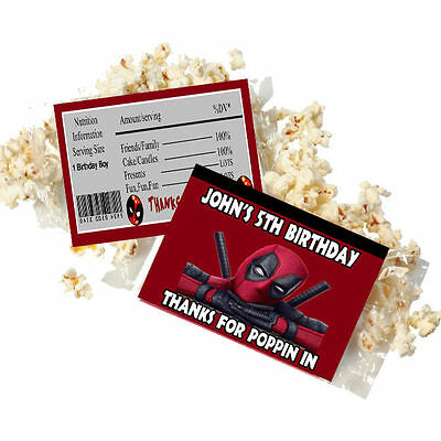 Popcorn Wrappers (20 Personalized DEADPOOL Microwave Popcorn Wrappers Party Favors Standard Size )