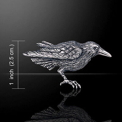 Raven .925 Sterling Silver Brooch by Peter Stone Jewelry