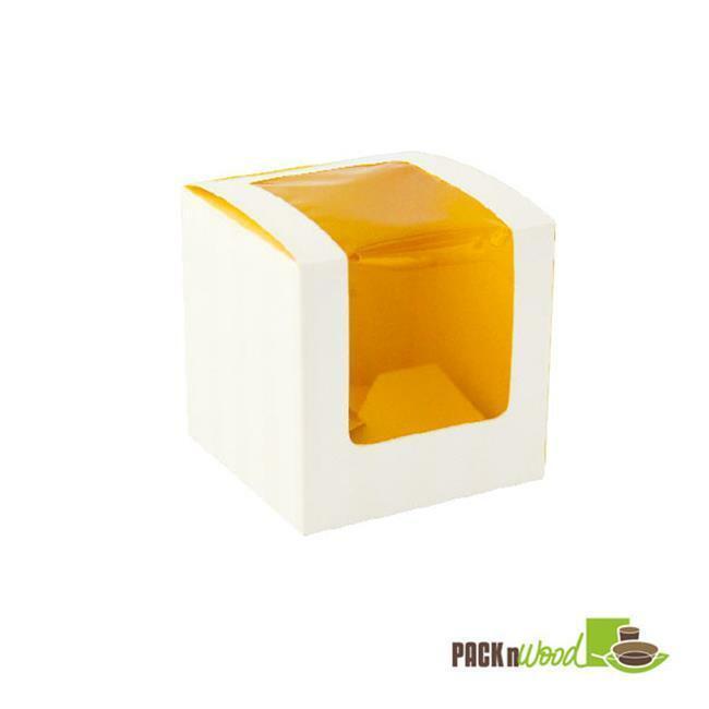 Packnwood 209BCKF1 Yellow Cupcake Box With Window