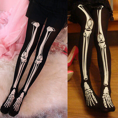Skelett Knochen Halloween (Skelett Leggings Karneval Leggings Bone Knochen Leggins-Gothic Halloween Strumpf)