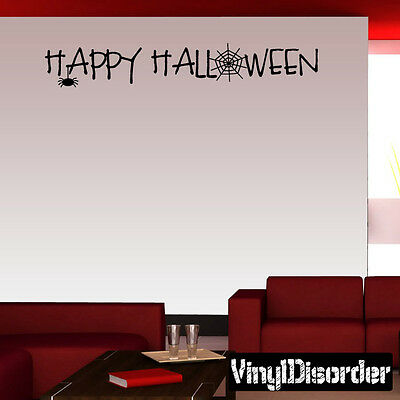 Happy Halloween Mural (Happy Halloween Holiday Vinyl Wall Decal Mural Quotes Words)