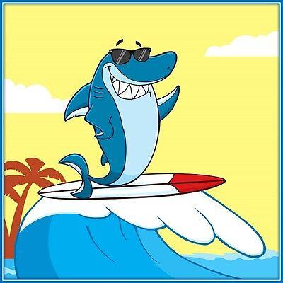 30 Custom Surfing Shark Personalized Address Labels