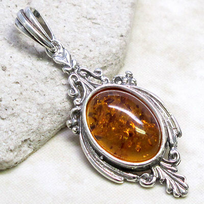 CLASSY GENUINE BALTIC AMBER 925 STERLING SILVER PENDANT Baltic Amber Sterling Pendant