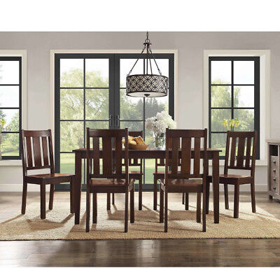 7 Piece Dining Set Table and 6 Chairs Classic Mission Style Mocha Solid (Mission Style Dining Room Chairs)