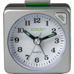 Korjo Analogue Travel Alarm Clock Night Light Snnoze Button Table Small Silver