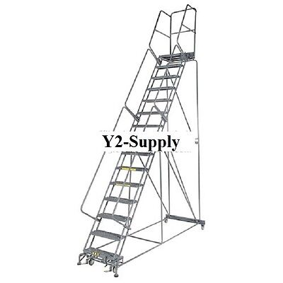 New 24w 12 Step Steel Rolling Ladder 14d Top Step