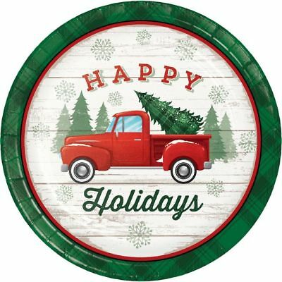 Christmas Classics 9 Inch Paper Plates 8 Pack Red Truck Winter Party Decoration